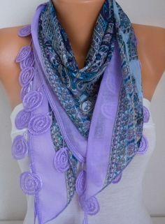Lilac Scarf Cotton Scarf Oversize Scarf Necklace Cowl by fatwoman