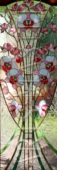 """Stained Glass Door. Composition in vegetable style on orchids. Brass construction, reliable firming all stained, lets not worry about the strength of the stained glass installation in interior doors and doors that are in the active zone of passage. Technique """"Tiffany"""", which made stained glass, is also quite strong due to the resilience of the solder web."""