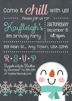 Super Ideas For Party Invitations Winter Snowman Birthday Parties, Winter Birthday Parties, Christmas Birthday Party, Winter Parties, Frozen Birthday, Birthday Fun, Tea Parties, 10th Birthday, Birthday Ideas