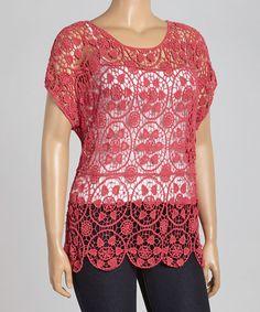 Look at this #zulilyfind! Fuchsia Crochet V-Neck Top - Plus #zulilyfinds