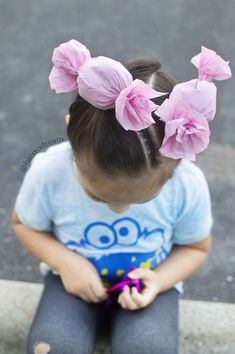 Candy Hair for Wacky Hair Day - Crazy Hair Day Girls, Crazy Hair For Kids, Crazy Hair Day At School, Crazy Hair Days, Hair Kids, Girls School Hairstyles, Little Girl Hairstyles, Toddler Hairstyles, Creative Hairstyles