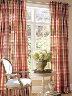 Moire Plaid Rod Pocket Curtains Country Curtains - for den French Country Kitchens, French Country Living Room, French Country Decorating, French Country Curtains, Country Kitchen Curtains, Plaid Curtains, Curtains Living, Check Curtains, Traditional Curtains