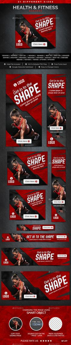 Health & Fitness Banners Template #webbanners #ads #design Download…