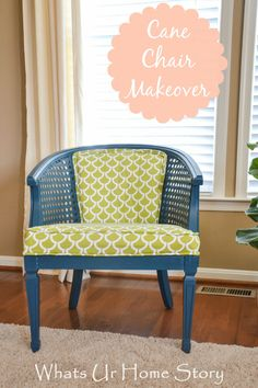 Cane back  chair makeover  www.whatsurhomestory.com