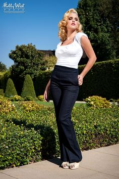 wide leg high empire waisted trousers in stretch denim | Pinup Girl Clothing