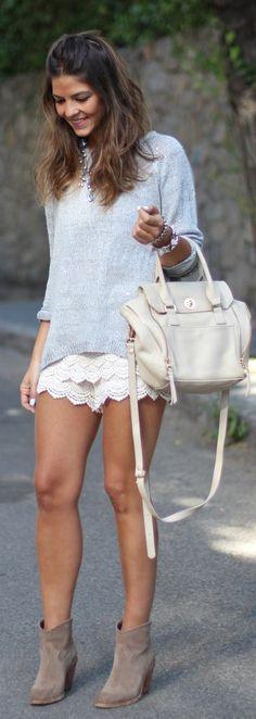 Buylevard White Crochet Culotte Shorts by TrendyTaste