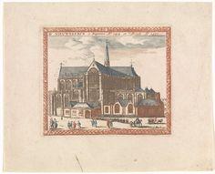 Anonymous   Nieuwe Kerk te Amsterdam, Anonymous, Jan Veenhuysen, Carel Allard, 1695 - 1699   De Nieuwe Kerk te Amsterdam met op de voorgrond een stoet mensen, die de kerk in gaat, en verschillende figuren.
