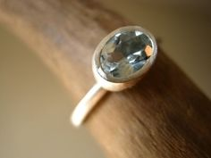 Aquamarine Solitaire Engagement Ring Natural Gem by metalmorphoz