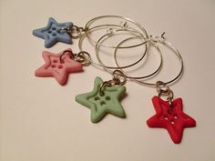 Star Shaped Button Wine Charms