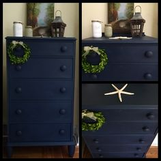 """36 Likes, 5 Comments - Krissy Pastore (@colorfulhomedesigns) on Instagram: """"Navy Blue hand painted vintage dresser. I love painting this color! This one is a mix of Annie…"""""""
