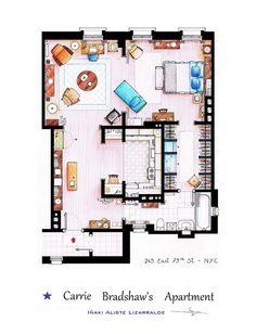 my ideal home <3 <3 <3   http://hubblog.it/2013/03/curiosita-topografie-da-tv-le-piantine-di-case-famose-di-inaki-aliste-lizarralde/