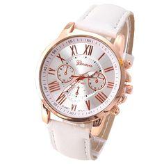 Geneva Platinum Women's Watch Leather Wristwatch Ladies Fashion