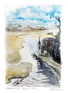https://flic.kr/p/FVLuwN | Portmeirion harbour | Sketch from life looking out to sea from Portmeirion. Drawn on my lovely A3 Moleskine sketchbook.