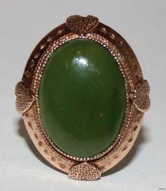 Antique Estate Ladies 10K Rose Gold Ring Green Oval Cabochon Jade C 1930s Deco