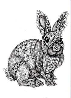 Galerie de coloriages gratuits coloriage-adulte-difficile-lapin.
