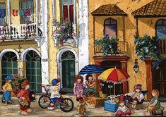 Casse-tête - Pauline Paquin : Jours d'été - Collection canadienne. 1000 morceaux. - Dimensions : 68,3 x 48 cm. -  Age : Toute la famille -  Référence : 97086 #Famille #Puzzle #Québec #Cadeau #Jeux #Jouets