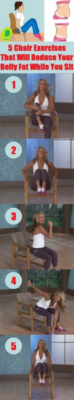 Belly Fat Workout - 5 Chair Exercises That Will Reduce Your Belly Fat While You Sit Do This One Unusual Trick Before Work To Melt Away 15 Pounds of Belly Fat Fitness Workouts, Sport Fitness, Fitness Diet, Yoga Fitness, At Home Workouts, Fitness Motivation, Health Fitness, Sixpack Workout, Workout Abs