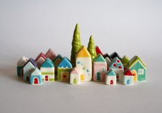 Fairy Gnome Tree House Miniature Ceramic Little House green brown red woodland