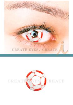 Viva La Football ♥ Red Soccer Cosmetic Contact Lenses HeavenlyCreates: Offers a wide variety of Crazy Contact Lenses at even crazier prices. Brand New and Packaged Packing: 2 pcs / Box Prescription: 0.00 Usage: 90+ days after opening Price: $69.00