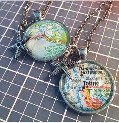 Tofino Map pendant necklace - a beautiful place to have a keepsake of!! Can include any charm. Chains come in 30 inches, 24 inches or 18 inches.