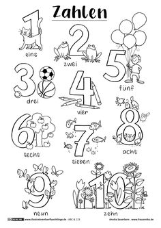 Kinder lernen spielend - ABC und 123 - Zahlen - Ausmalen und Lernen - Freebie *** Fun Kids Learning - Free Printable Learning and drawing the Numbers