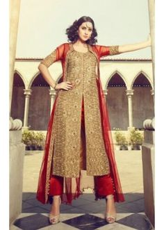 Ethnic Wear Brown & Red Silk Salwar Suit - 73315