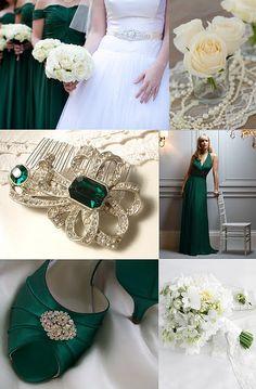 Glamorous Emerald & White Wedding Styling