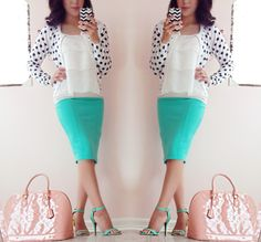 Modest outfit blog! Mint and dots!