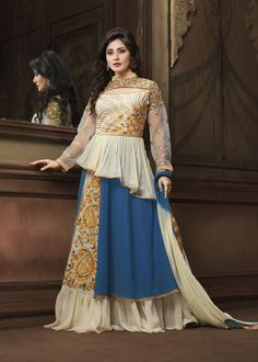 Exclusive Off White and Blue Designer Salwar Kameez. Get compliments from everyone in casual gathering with this beautifully designed Salwar Suit with Embroidered work. As shown as bottom and dupatta come with. #salwarkameez, #bollywoodsalwarsuits, #Rimisen More: http://www.addsharesale.com/catalogs/woman-dress/107/8012