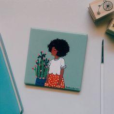 By Malena Flores Small Canvas Paintings, Mini Canvas Art, Mini Paintings, Art Sketches, Art Drawings, Arte Black, Arte Sketchbook, Art Hoe, Acrylic Art
