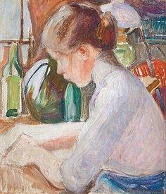 Pekka Halonen, Girl Writing, 1911, The Life and Art of Pekka Halonen - http://www.alternativefinland.com/art-pekka-halonen/