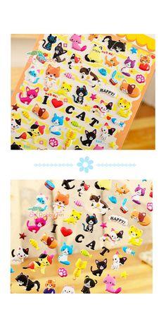 Kawaii Cat Puffy Sticker  Scrapbooking Card-making by BobbyTin