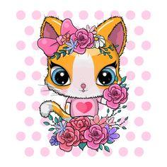 Cute Cartoon Girl, Cute Cartoon Animals, Happy Birthday Ecard, Birthday Cards, E Cards, Greeting Cards, Girls With Flowers, Card Maker, Kittens Cutest
