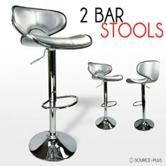 "2 Swivel Silver Elegant PU Leather Modern Adjustable Hydraulic Bar Stool Barstool by Talentstar. $96.00. Elagant chrome triming around the seat and back rest / A bar-style foot rest provides maximum comfort. 2 x Bar Stools. PU Leather seat / Seat adjustable height: 24.5"" - 33.7""  / The base is made from durable, chromed steel. Color: Silver (also comes in Red White Mocha). Swivels 360 Degrees / Stainless Steel Frame. Our kitchen / bar counter top bar stools will be a r..."