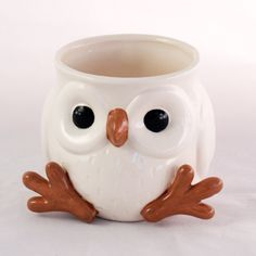 Before they became one of our most fashionable design trends, owls were known as harbingers of wisdom. You'll certainly feel a little wiser after a morning cup of coffee or tea with this charming owl m...  Find the Vintage Snow Owl Mug, as seen in the Mugs Collection at http://dotandbo.com/category/kitchen-and-dining/glassware-and-bar/mugs?utm_source=pinterest