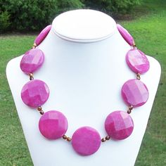 Sabrina Raz  GORGEOUS Super Chunky Raspberry Pink 40mm by Tessyla, $155.00