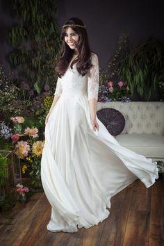 Naomi Neoh GWEN silk satin chiffonwedding dress worn with GWEN French lace jacket. www.naomineoh.com