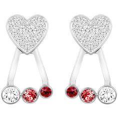 Swarovski Duo Heart Pierced Earring Jackets ($69) ❤ liked on Polyvore featuring jewelry, earrings, crystal heart earrings, pave earrings, clear crystal earrings, holiday earrings and red heart earrings