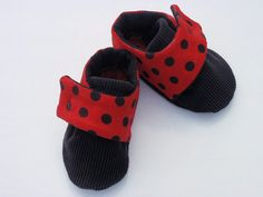 Baby Girl Shoes/Booties Red & Black Polka Dot