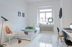Small apartment. Bright. White floors.