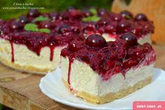 Sernik na zimno z wiśniami - Swiatciast.pl Cheesecake, Food And Drink, Eat, Cooking, Polish Cuisine, Bakken, Kitchen, Cheesecakes, Cherry Cheesecake Shooters
