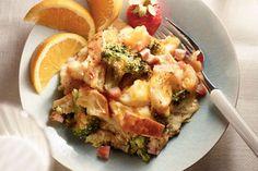 Strata au brocoli, au jambon et au cheddar