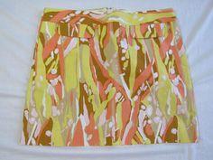 Retro J. Crew Yellow Orange Mini Skirt Size 6 Spring Summer  #JCrew #Mini