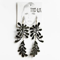 Lace earrings Synapse Black lace with bronze chain by thisilk
