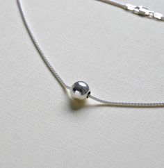 Silver ball necklace - sterling silver seamless ball bead on thick sterling silver chain - gift for her - modern luxe jewelry - Leighton