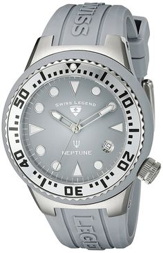 Swiss Legend Women's 11044D-014 Neptune Light Grey Dial Light Grey Silicone Watch >>> Click image to review more details.