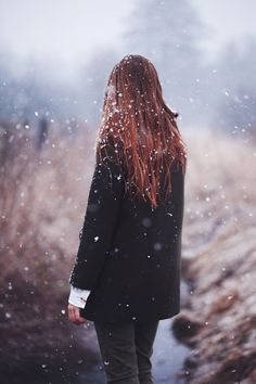Winter in April | by *Nishe - perfectly captured falling snow, snowflakes in hair.