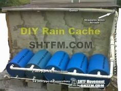 DIY  Rain Harvesting How to barrels water cache system