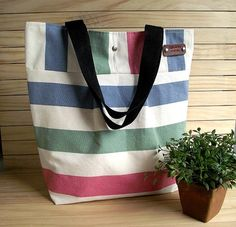 WATERPROOF Canvas Tote Bag Striped Large by liliavaniniboutique