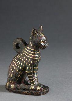 Bronze cat amulet - Egypt, 1069 - 664 B.C.